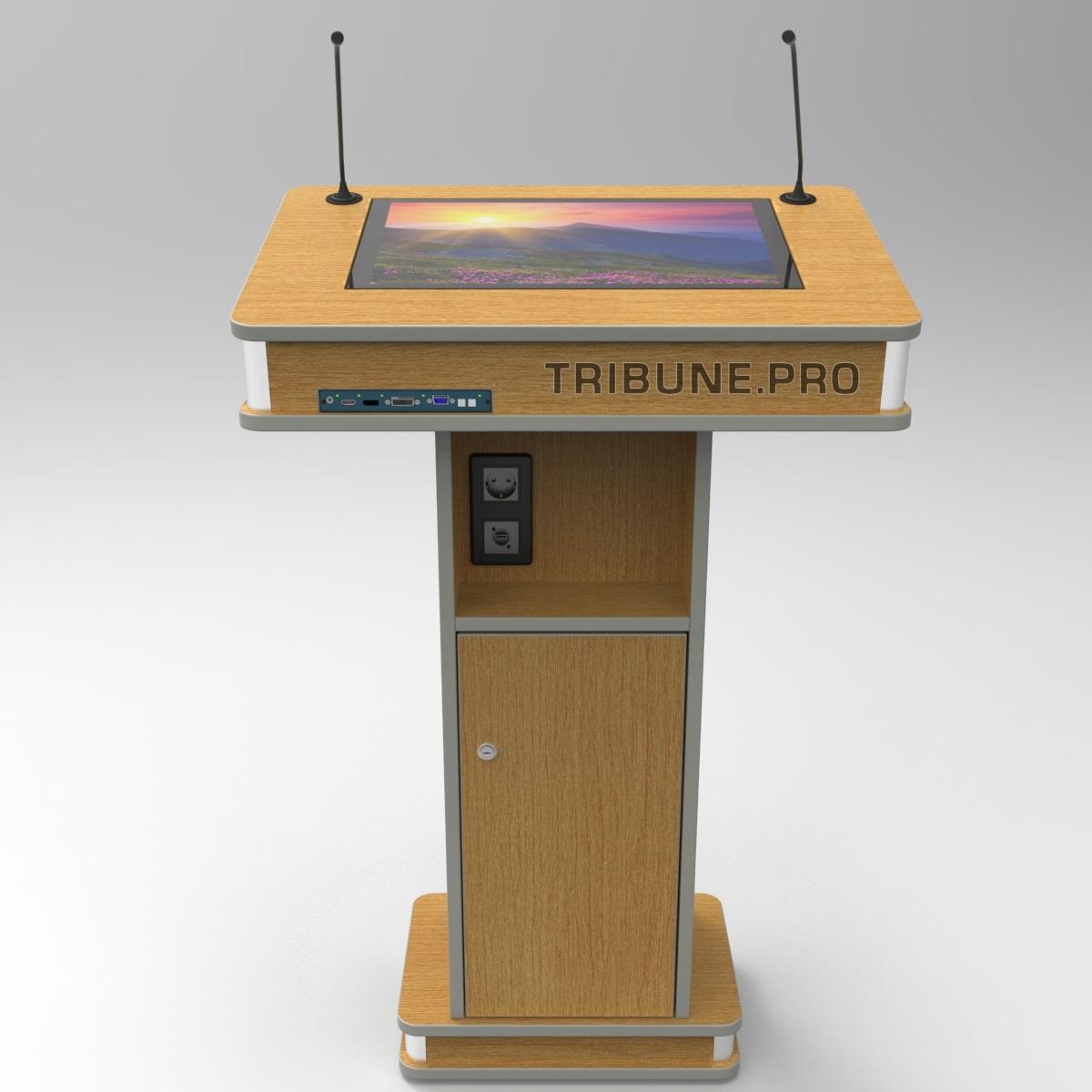 Трибуна с сенсорным экраном и микрофонами